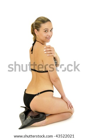 Sexy young girl  in bikini isolated in white