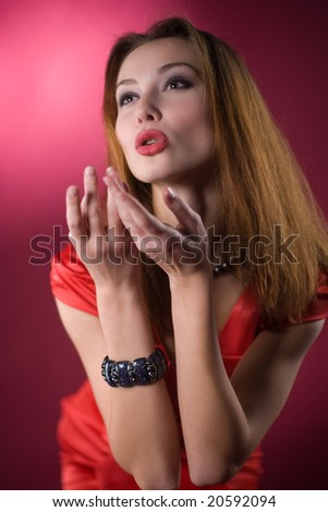 sexy young girl in the red dress - stock photo