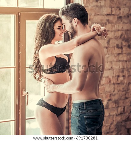 Naked couple sexy hugs