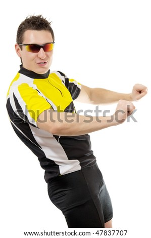 sexy young man in t-shirt wearing sunglasses - stock photo