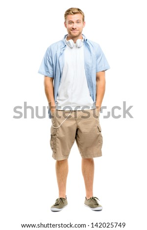 Sexy young man wearing headphones isolated on white - stock photo