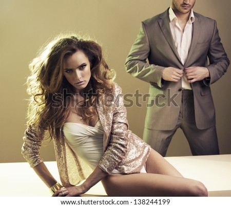 Sexy young passionate couple  - stock photo
