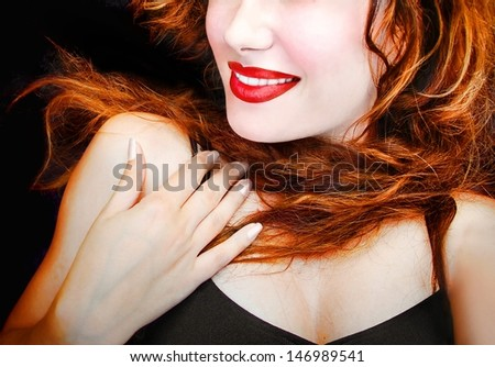 Sexy young pretty woman / girl / model with red lips and hair - closeup  - stock photo