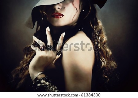 Sexy young pretty woman / model / girl / student / businesswoman / secretary with red lips, vintage / retro hat and jewelry / lips / seductive - closeup - stock photo