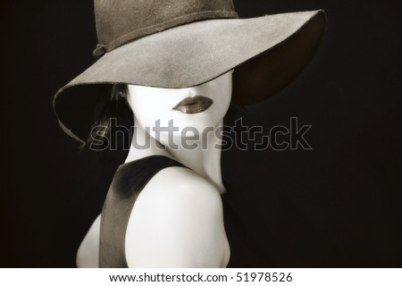 Sexy young pretty woman / model / girl / student / businesswoman / with full lips, vintage / retro hat / seductive - closeup - stock photo