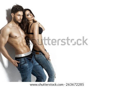 Sexy young undress couple  - stock photo