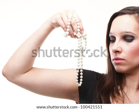 Sexy young woman and pearl isolated on white - stock photo