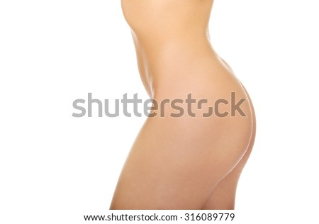 Sexy young woman body, isolated on white. - stock photo