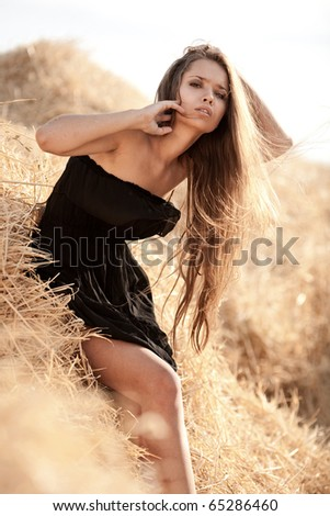 Sexy young woman in black dress stadning in a stack of hay - stock photo