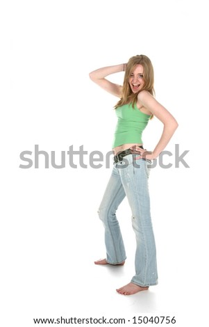 sexy young woman in faded denim - stock photo