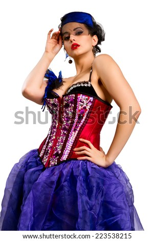 Sexy young woman in fashion dress, girl in a red corset  Isolated on white background - stock photo