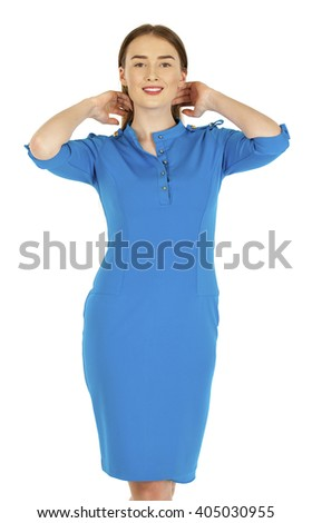 Sexy young woman in long evening blue dress, isolated on white - stock photo