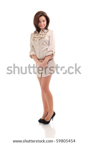 Sexy young woman.  Isolated over white. - stock photo