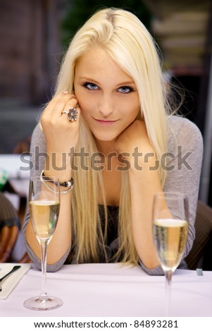 Sexy young woman on a blind date. - stock photo