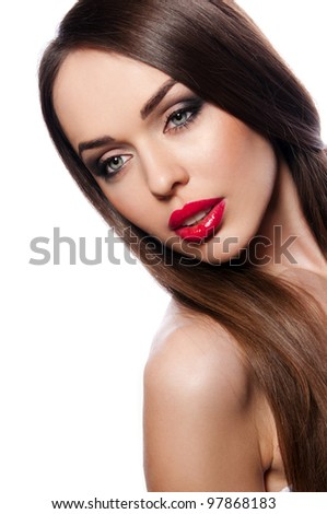 sexy young woman with chubby red lips on white background