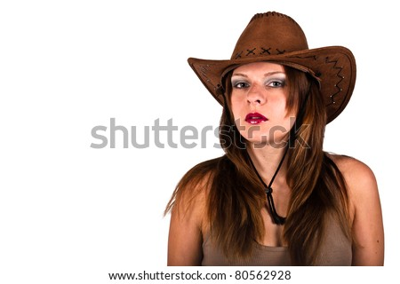 Sexy young woman with cowboy hat - stock photo