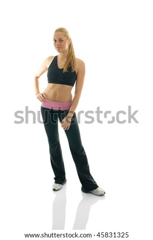 Sexy young women posing in fitness outfit. Isolated on white - stock photo