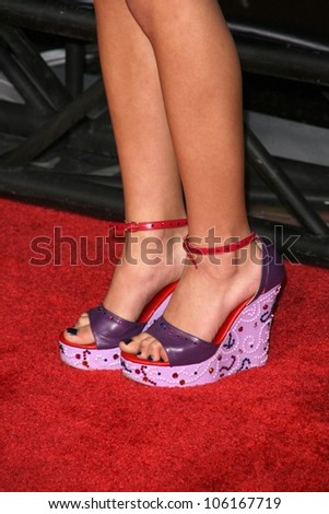 Seychelle Gabriel's shoes   at the Los Angeles Premiere of 'The Spirit'. Grauman's Chinese Theatre, Hollywood, CA. 12-17-08