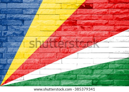 Seychelles Flag on a brick wall background