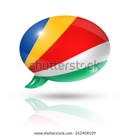 Seychelles flag on speech bubble isolated on white with clipping path - stock photo