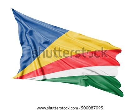 Seychelles flag waving  on white  background.
