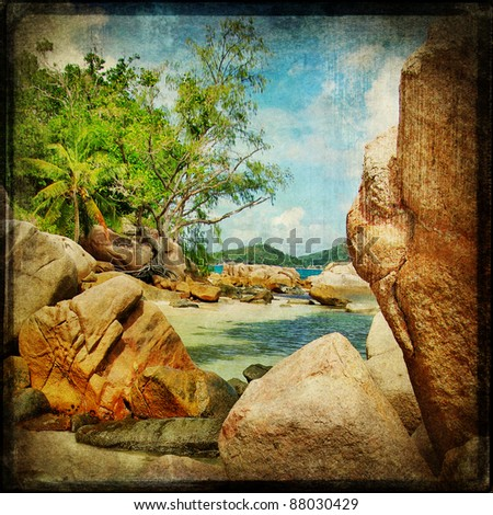 Seychelles rocky beach - retro styled picture - stock photo