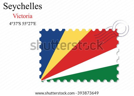 seychelles stamp design over stripy background, abstract art illustration, image contains transparency