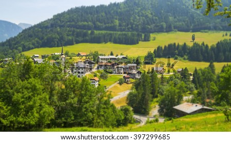 Seytroux  village in the French Alps mountains,region touristic Portes du Soleil,summer and winter attraction for many tourists who love hiking and skiing. - stock photo