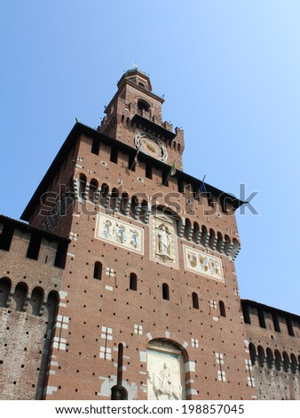 Sforza Castle, Castello Sforzesco, Milan, Italy - stock photo