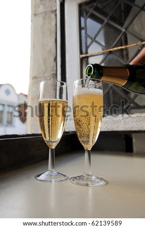 sgerve champagne - stock photo