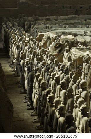 SHAANXI, CHINA Terracotta Army is a collection of terracotta sculptures depicting the armies of Qin Shi Huang, the first Emperor of China. 210-209 BC Taken 24 Mar 2014  - stock photo