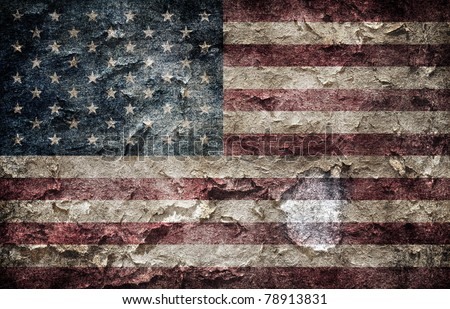 Shabby american flag background - stock photo