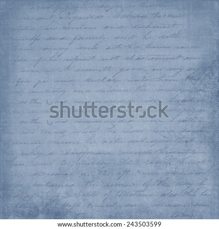 Shabby, Blue, Cursive, Hand Written Letter Background - stock photo