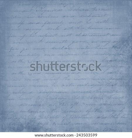 Shabby, Blue, Cursive, Hand Written Letter Background - stock photo