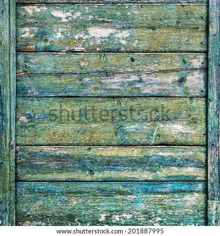 Shabby Blue Wooden Planks with cracked color paint, background