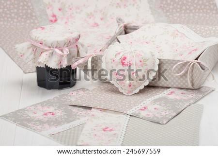 Shabby Chic. Handmade Heart, Napkins, Table Cloth, Tray. Homemade Jam. - stock photo