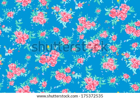 Shabby chic rose pattern background with copyspace frame template.