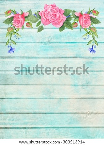 Shabby Chic Wood Background With Floral Vignette