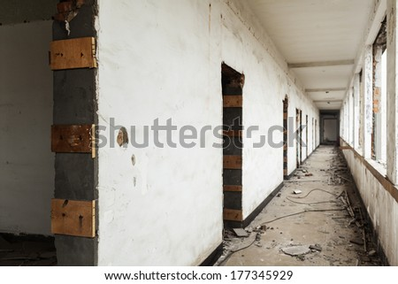Shabby corridor - stock photo