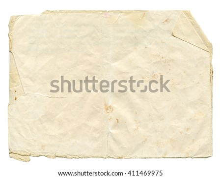 Shabby light paper blank with torn edges and old spots isolated on white background. Vintage texture for design.  - stock photo