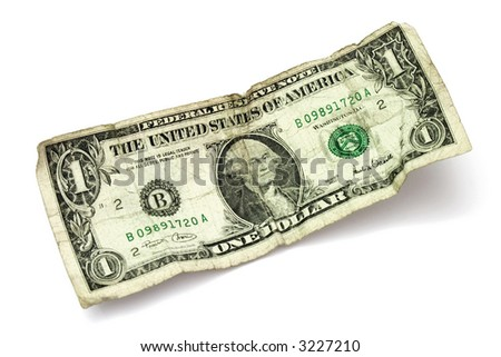shabby one dollar banknote on white background