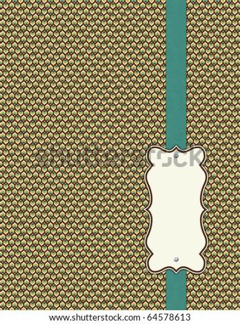Shabby Patterns with blue ribbon - stock photo