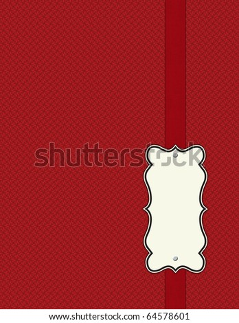 Shabby red on red pattern with ribbon - stock photo