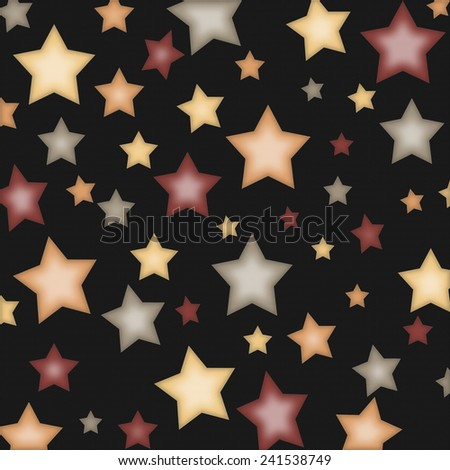 Shabby Stars on Black Background in Peach, Red, Green, and Cream