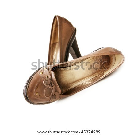 Shabby woman's brown Leather shoes with bows
