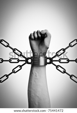 Shackled - stock photo