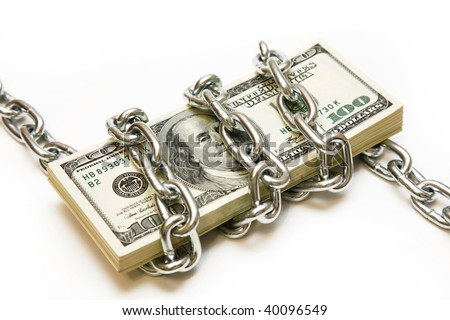 Shackled stack of dollars on the white background - stock photo