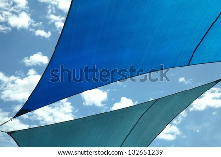 Shade Sail Color Blue - stock photo