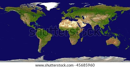 Shaded Relief Map of the World, Data Source: NASA - stock photo