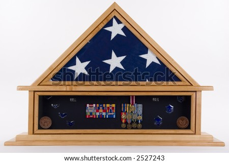 Shadow Box of an American military hero - stock photo